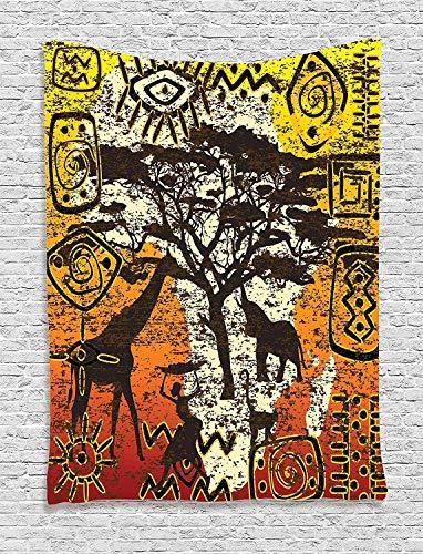 DUTRIX Tapiz Africano, Animales, Tema de Safari, Arte Cultural, Grunge, Bohemio, Colgante de Pared para Dormitorio, Sala de Estar, Dormitorio, 60'x 80', Naranja Amarillo