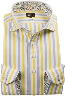 [スタイルワークス] ドレスシャツ ワイシャツ シャツ メンズ 国産 長袖 綿100% スリムフィット カッタウェイワイド イエロー グレー オルタネイトボールドストライプ 1911 (Sサイズ・裄丈81cm)