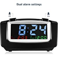 INLIFE Digital Dual Alarm Clock with USB Charging, Large LED Display with Dimmer, Snooze, Battery Backup