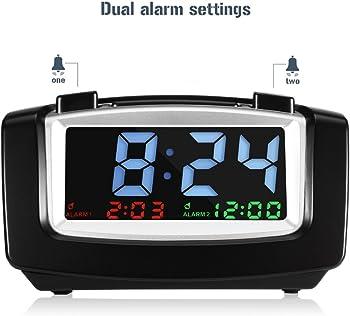 INLIFE Digital Dual Alarm Clock with USB Charging