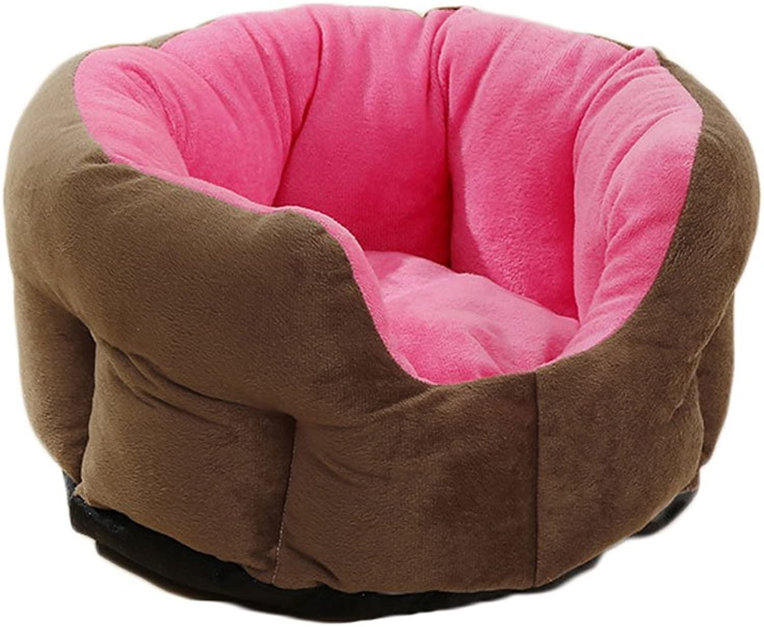 GCHOME dog bed Pet Bed Plush Cotton Waterproof Nonslip Four Seasons Universal Soft Comfortable Cool Breathable Doublesided Available (color   Pink(A), Size   M)