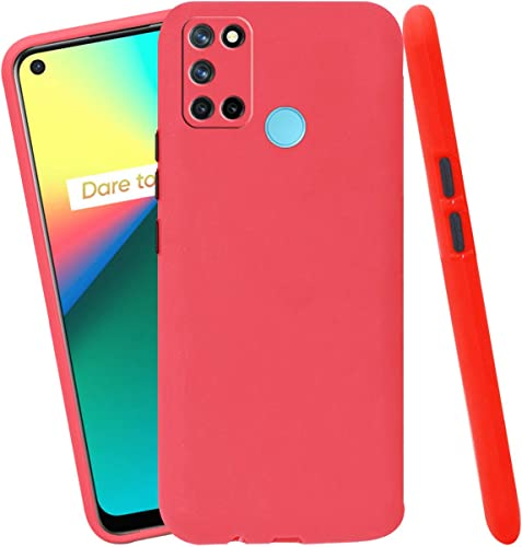 Jkobi Soft Silicon Camera Protection Back Cover Case For Realme 7I With Color Highligted Smoke Buttons Red