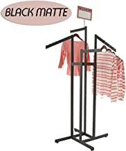 Clothing Rack – Heavy Duty Black 4 Way Rack, Adjustable Arms, Square Tubing, Perfect for Clothing Store Display With 2 Straight Arms and 2 Slanted Arms