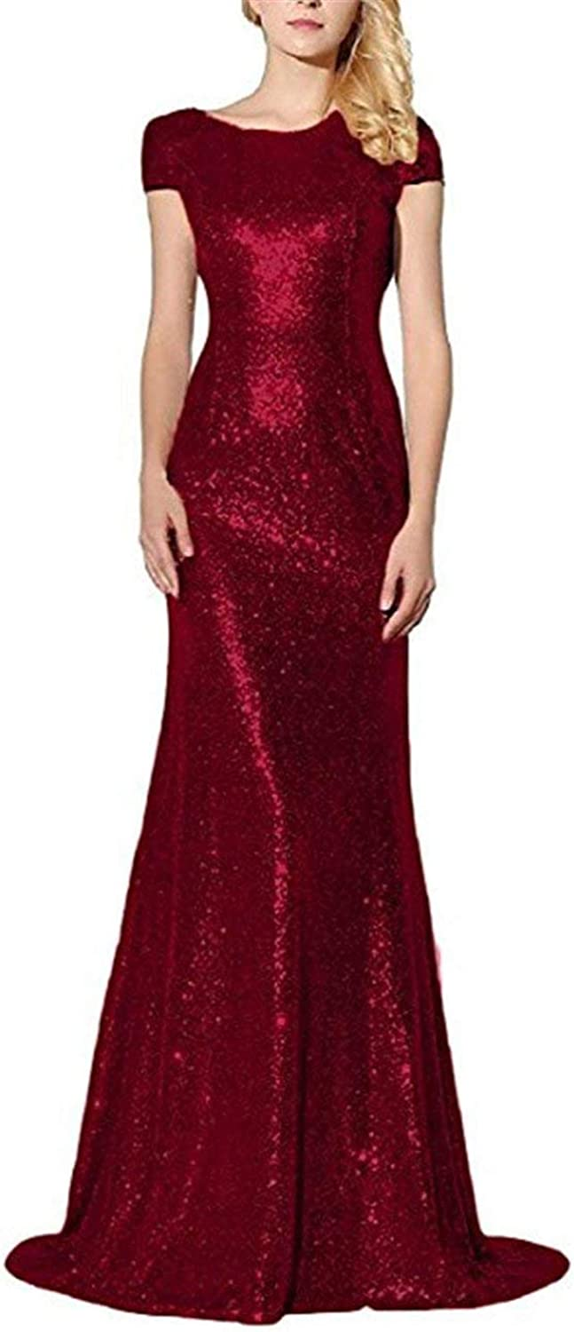 Vimans Womens Long Prom Dresses 2019 Short Sleeve Formal Gown with Sequins P06