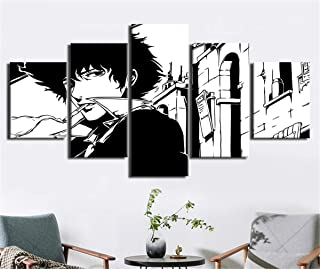 NATVVA 5 Panel Wall Art Painting Pictures Print Black and White Cowboy Bebop Posters Print On Canvas for Home Modern Decoration Living Gift Artwork Room Stretched by Wooden Frame Ready to Hang