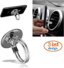 RUNGLI Cell Phone Ring Holder, 3 in 1 Universal Phone Ring Stand Car Holder, Finger Grip Phone Holder for iPhone, Samsung Phone and Smartphones (Silver)