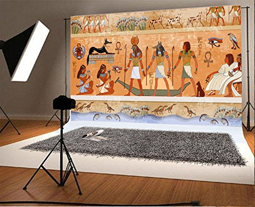 Laeacco 8x6.5FT Vinyl Backdrop Photography Background Ancient Egypt Mythology Egyptian Gods and Pharaohs Hieroglyphic Carvings Wall Ancient Temple Background Murals Adult Photo Portrait Shoot Prop