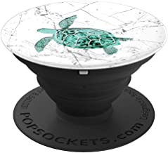 Sea Turtle Marble White Blue Green - PopSockets Grip and Stand for Phones and Tablets