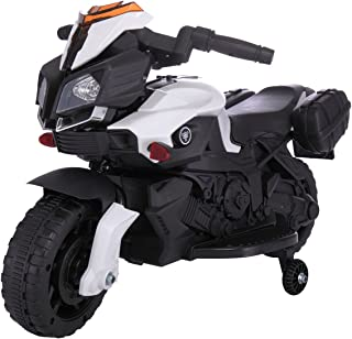 LAZYMOON Sandinrayli 6V Kids Ride On Motorcycle Car Battery Powered 4 Wheel Bicycle Electric Toy, Black and White