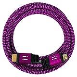 i! - Cable HDMI de alta velocidad de nailon de 2 m compatible con HDMI 2.0 1.4a 3D 4K Ultra HD 2160p Full HD 1080p High Speed Ethernet ARC HDR CEC DTS-HD - color rosa