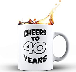 Shop4Ever 40th Birthday Gift for Him Her Cheers To 40 Years 1979 40th Anniversary Gift Ceramic Coffee Mug Tea Cup