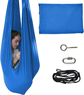 IRQ Indoor Therapy Swing for Kids with Special Needs Snuggle Swing Cuddle Hammock for Children with Autism, ADHD, Aspergers Great for Sensory Integration Hammocks (Blue)