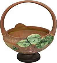Roseville Pottery Fuchsia Brown Basket with Flower Frog 350-8