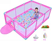 SXXDERTY-playard Square Playpens Baby Fence Household Shatter Resistant Toys House Children S Safety Playards with Puzzle Play Mats and 200 Ocean balls for Baby and Toddlers