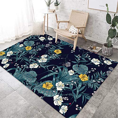 alfombras antiacaros Salón salón Azul Flor de Hojas Moderno sofá Alfombra Lavado de Agua Azul moqueta Alfombra 180X200CM Alfombra terraza 5ft 10.9