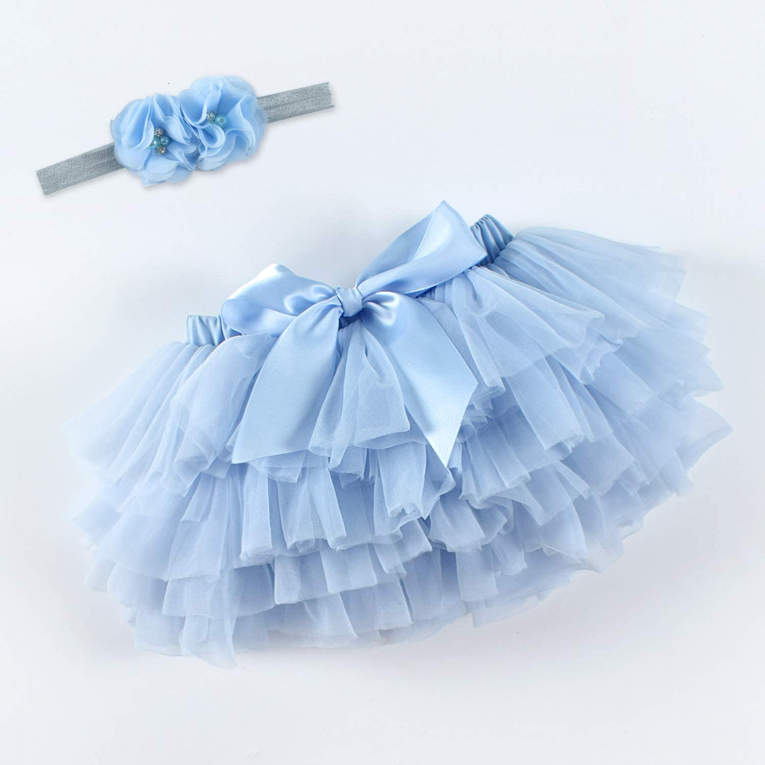 De feuilles Toddler Baby Girls Tutu Skirt with Diaper Cover Tulle Layered Bloomers and Headband Set