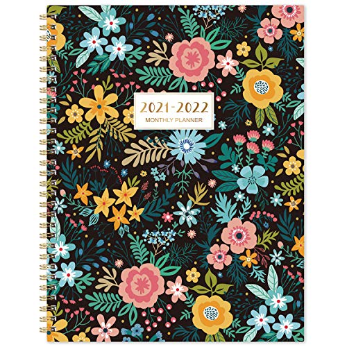 2021-2022 Monthly Planner - 18-Month Planner with Tabs & Pocket, Contacts and Passwords, 8.5' x 11', Thick Paper, Jul. 2021 - Dec. 2022, Twin-Wire Binding - Black Floral