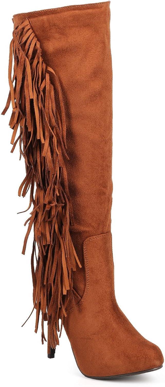 Wild Diva Breckelles DE14 Women Knee High Suede greenical Fringe Single Sole Stiletto Boot - Tan
