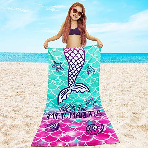 Softerry Mermaid Princess Beach Towel 30 x 60 inch Velour 100% Cotton, Pink and Green (Large - 30' x 60' - 76 x 152cm)