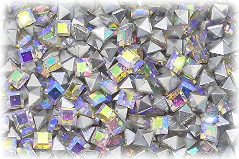 中止しますキャッシュ収縮SHAREKI CRYSTAL Vカット (チャトン) ラインストーン スクエア (四角形)レインボー 3mmx3mm 6個入りx3セット=18個  rai-3x3