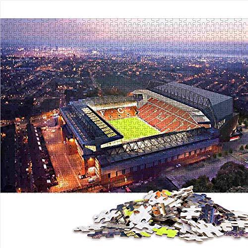 1000 Puzzleteile für Erwachsene Liverpool: Football Stadium Poster 1000-teiliges Puzzle für Erwachsene und Kinder Familienteam Bildung intellektuellen Stressabbau Spielzeug 38x26cm
