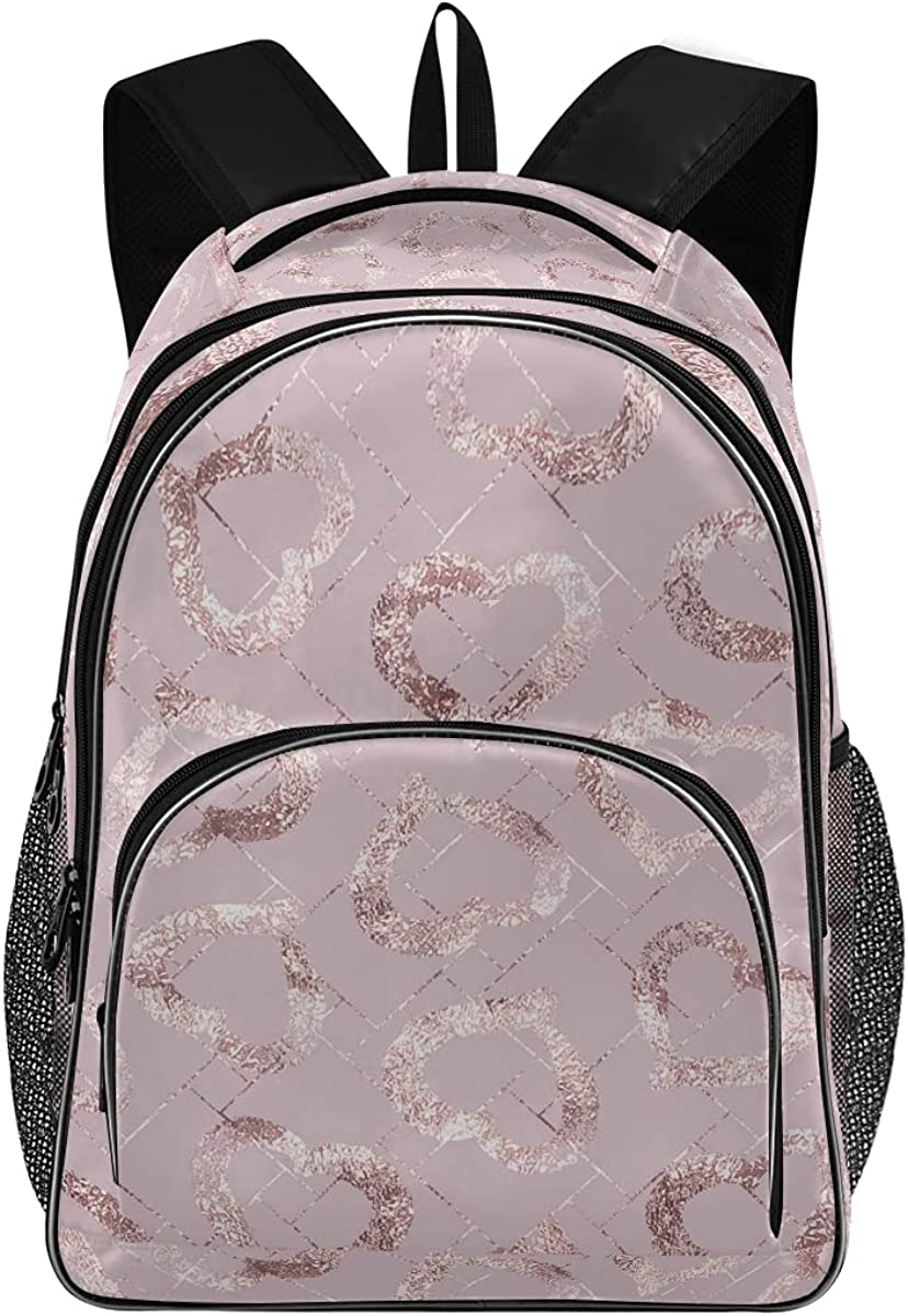 Rose Gold Hearts New Free Shipping Print Tampa Mall Large Unisex for Students Backpa Backpack