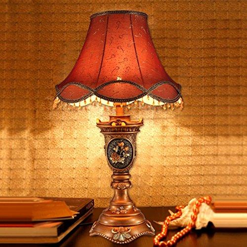 LEDMLSH Europäische Tischlampe Schlafzimmer Bedside Luxus Stoff Study Wohnzimmer Dekoration Tisch Lampe Blume Gravur (Birnen nicht eingeschlossen)