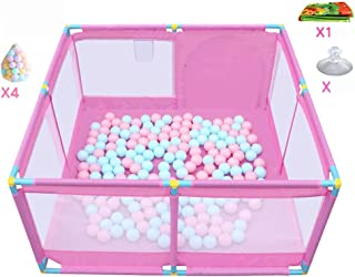 Portable Playground Portable Baby Park with Balls and Mats  Kids Outdoor Indoor  Activity Center  Folded Oxford Fabric  Pink