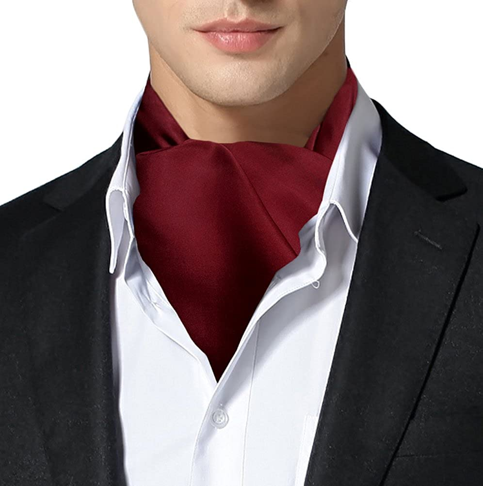 Remo Sartori Made in Italy Men's Solid Self Cravat Ascot Tie,Double Pointed,Silk
