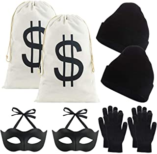 Auihiay 10 Pieces Robber Costume Set Include 17 x 11 inch Canvas Dollar Sign Money Bags Bandit Eye Mask Knit Hat and Gloves for Halloween Cosplay Burglar Theme Party