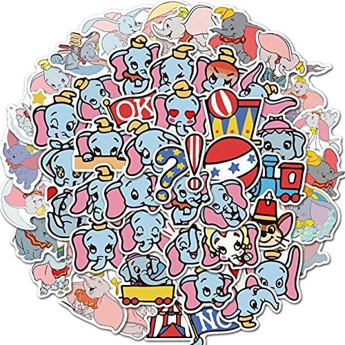 SHUYE Lindo Dibujo Animado Dumbo Impermeable Graffiti Pegatina Ordenador portátil teléfono móvil Pegatina Casco Coche Pegatina 50 Hojas