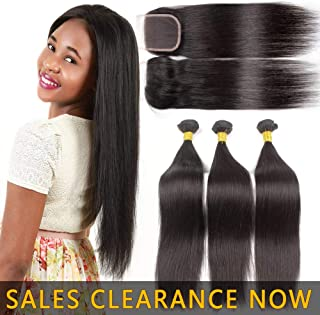 9A Human Hair 3 Bundles And 4x4 Lace Closure Free Part Best Brazilian Straight Virgin Hair Weave Indian Malaysian Remy Hair Extensions Deals Cheap Peruvian Natural Black Hair Weft 10 10 10 With 10IN