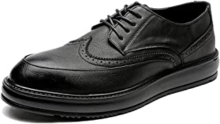 Sygjal Men's Fashion Oxford Casual Classic Carvings Breathe Comfortably Outsole Brogue Shoes Black (Color : Black, Size : 39 EU)