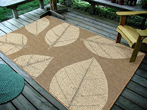 Furnish My Place Design0583 Neutral 4'5'x7' Big Floral Leaves Area Rugs For Indoor & Outdoor, Easy To Clean & Fade Resistant Washable Rug, Neutral Beige