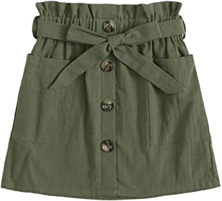 SOLY HUX Girl's Paper Bag Waist Button Front Pocket A Line Belted Skirt