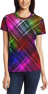 XiangHeFu T-shirt voor vrouwen meisjes kleurrijke regenboog sterrenhemel aangepaste korte mouw