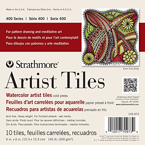 Strathmore 400 Series Watercolor Artist Tiles, Cold Press, 6'x6', 10 Sheets