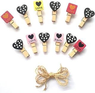 LWR CRAFTS Mini pinces à linge en bois Love and Heart Tropical 24 pièces et cordon en jute 20 cm