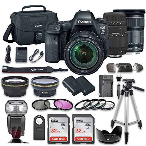 Canon EOS 6D Mark II DSLR Camera Bundle w/Canon EF 24-105mm f/3.5-5.6 is STM Lens + Sigma 70-300mm f/4-5.6 DG Autofocus Lens + 2pc SanDisk 32GB Memory Cards + Premium Accessory Bundle Kit (20 Items)