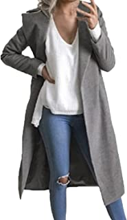 Auxo Women Trench Coat Long Sleeve Pea Coat Lapel Open Front Long Jacket Overcoat Outwear
