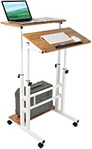 Zytty Small Standing Desk, Portable Standing Desk with Wheels Standing Laptop Desk Mobile Standing Desk for Home Office Ad...
