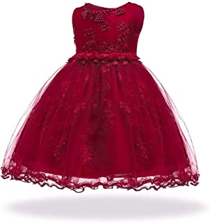 LIVFME Flower Girl Dress Kids Pageant Party Wedding Special Occasion Dresses 2-8 Years