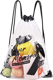 Clear PVC Drawstring Backpack Sports Events School Travel Shoulder Bags for Kids and Adults (1 Pack)