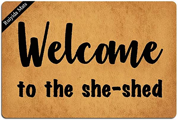 Ruiyida Welcome To The She Shed Doormat Custom Home Living Decor Housewares Rugs And Mats State Indoor Gift Ideas 23 6 By 15 7 Inch Machine Washable Fabric Top
