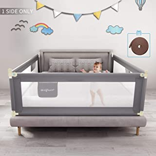 Mingfuxin Foldable Crib Rail Guard for Baby, Bed Fence Safety Gate Baby Barrier for Crib Guardrail Security Fencing Kids with Mute Vertical Lifting Bed Guard-Rail for Twin, Double, Full Size(70inch)
