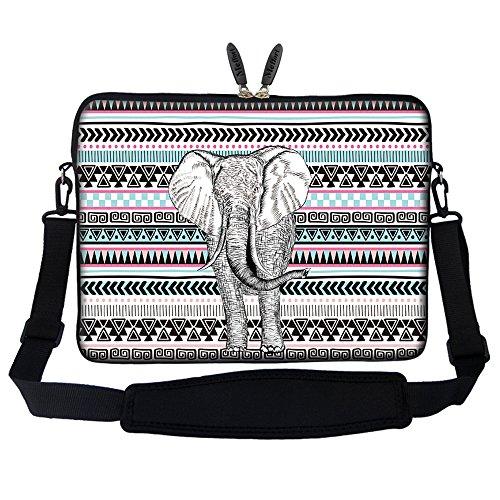 Meffort Inc 15 15.6 inch Neoprene Laptop Sleeve Bag Carrying Case with Hidden Handle and Adjustable Shoulder Strap - Elephant Wave Pattern
