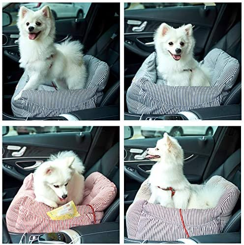 Bloblo Sitzerhöhung Für Hunde Für Kleine Bis Mittelgroße Hunde Mit Einem Gewicht Unter 16kg Mit Seitentasche Und Hundeleine Abnehmbarer Und Waschbarer Haustier Sitzbezug Hunde Auto Reisebett Rot Haustier