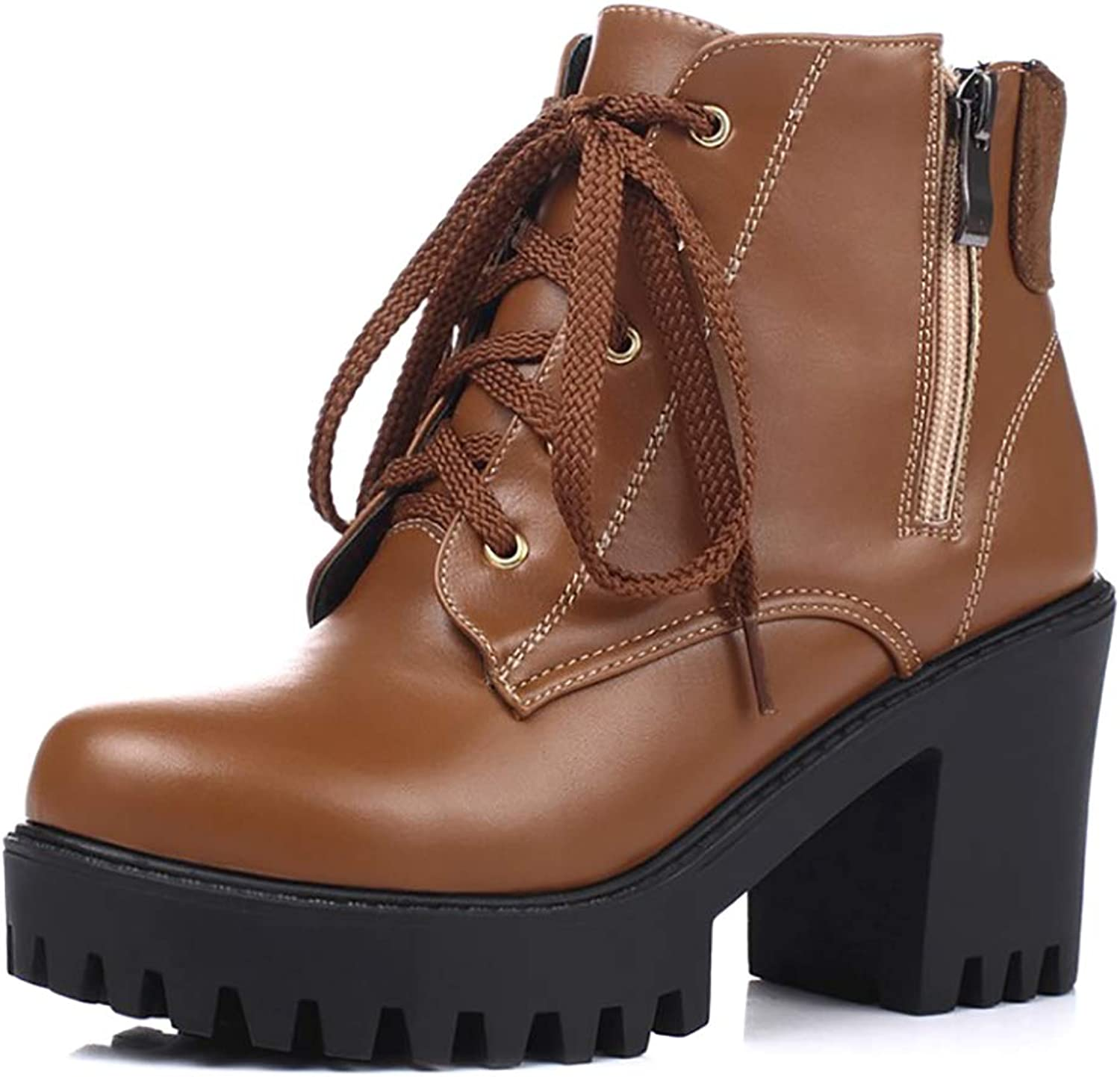 Catata Women's Stylish Side Zipper Booties Lace Up Chunky High-Heeled Platform Ankle Boots