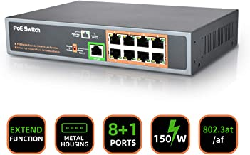 9 Ports Fast Unmanaged PoE+ Switch, 8 Ports Unmanaged PoE+ Switch and 1 Port Uplink, Total Budget 150W, Plug and Play, IEEE 802.3af/at