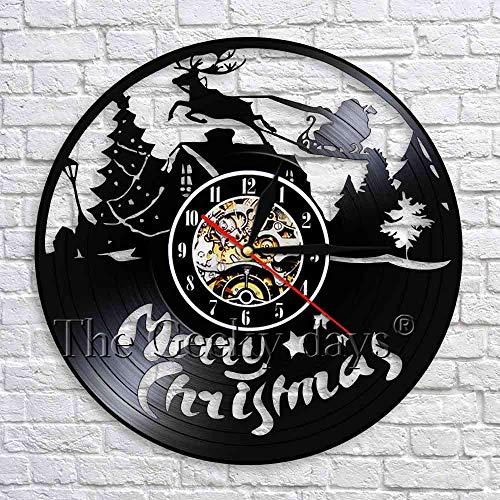 Reloj de decoración de arte de pared de Feliz Navidad de disco de CD clásico por Reloj de pared de disco de vinilo Decoración de pared de Navidad creativa   Decoración del hogar de elementos de moda